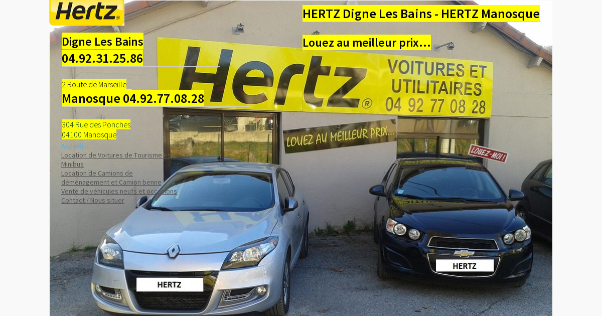 hertz location voiture camion manosque digne les bains. Black Bedroom Furniture Sets. Home Design Ideas